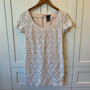 Talula Aritzia Cream Lace Short Sleeve Mini Dress